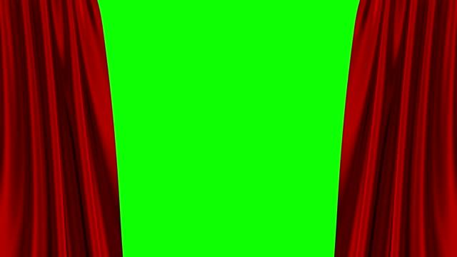 vídeos y material grabado en eventos de stock de cortina roja apertura en la pantalla verde. animación 3d. 4k. - cortina