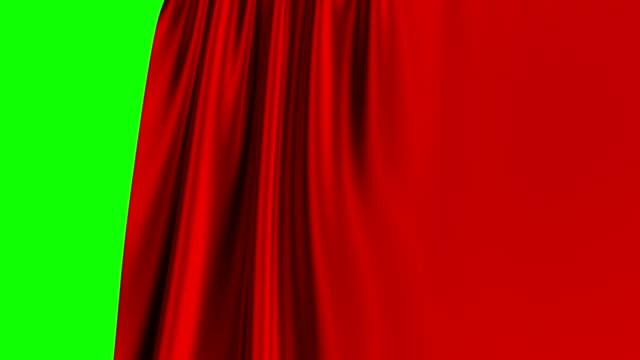 röd gardin öppning på grön skärm. 3d-animering. 4k. - red silk bildbanksvideor och videomaterial från bakom kulisserna