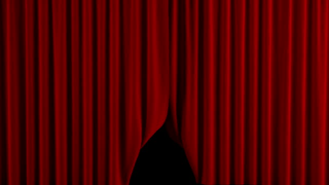 Red curtain opens. With alpha channel. video