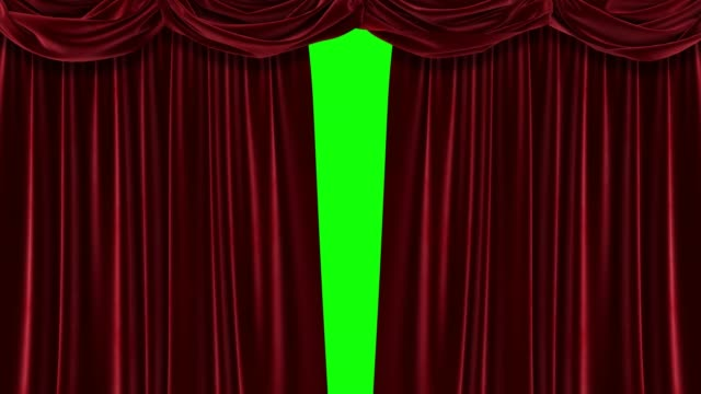 red curtain with green background. chromakey. 4k animation of high quality. - circus стоковые видео и кадры b-roll