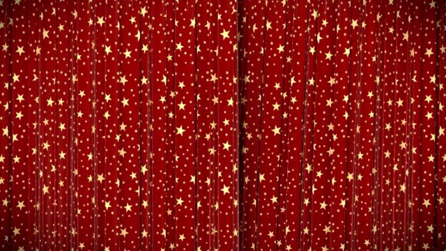 red curtain with stars, opening and closing, hd, mask. - red silk bildbanksvideor och videomaterial från bakom kulisserna
