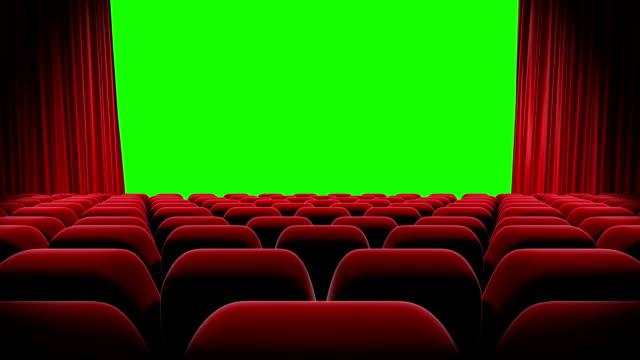 HD : Rideau rouge ouverture d'écran vert, théâtre ouverture. - Vidéo