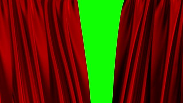 röda gardiner öppning. grön skärm. 4 k. 3840 x 2160. - red silk bildbanksvideor och videomaterial från bakom kulisserna