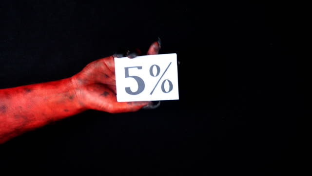 Red demon hand holding sale card 5 percentage 50 fps video