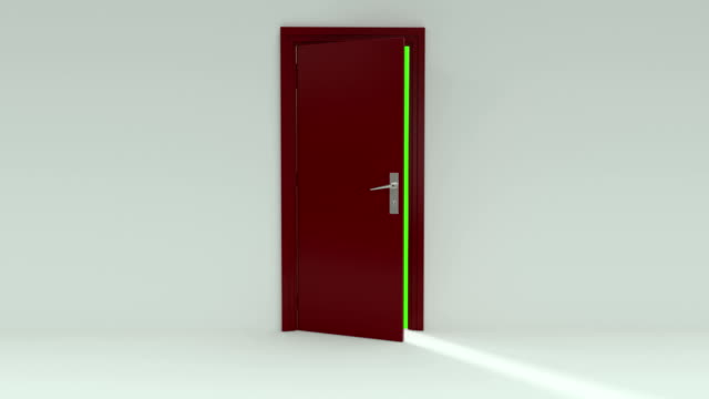 Red Door opening with Alpha Channel and green screen