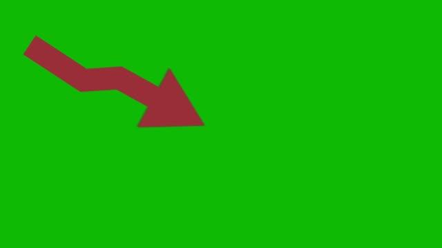 красный нисходящий кризис анимированный значок на зеленом экране. экономический простой движущийся ароу - arrow стоковые видео и кадры b-roll