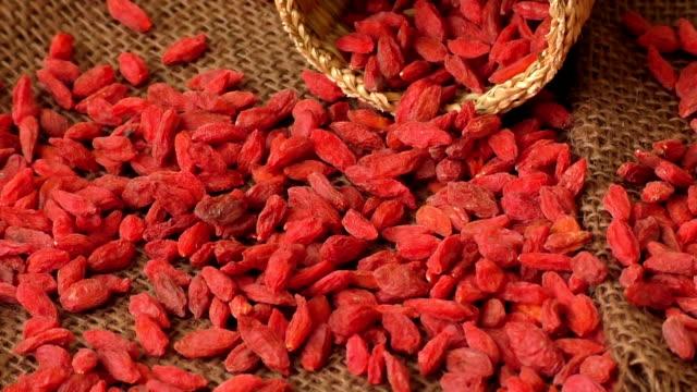 Red dried goji berries ( Lycium Barbarum , wolfberry ) video