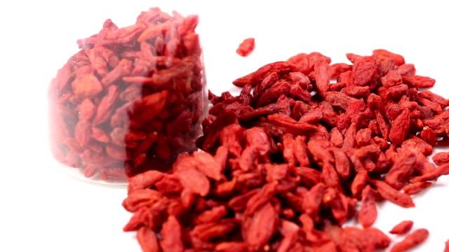 Red dried goji berries. video