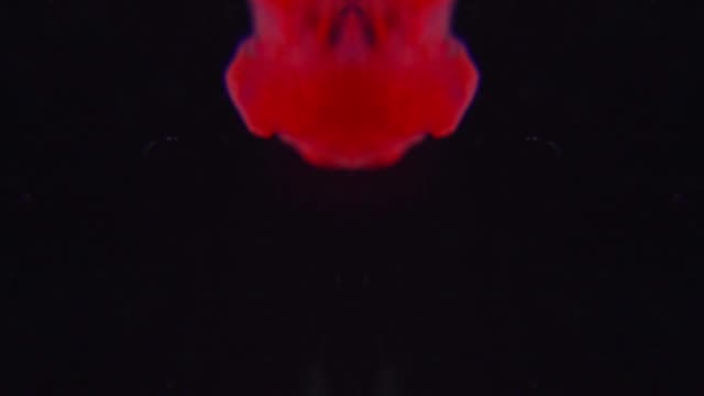 Red dye spraying looks like blood in water as symmetrical abstract background video in slow motion