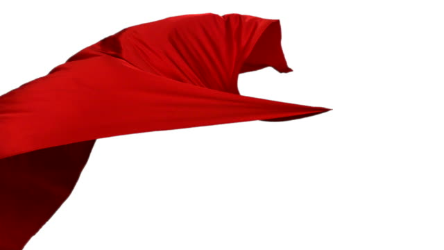 Red fabric flowing on white background, Slow Motion video