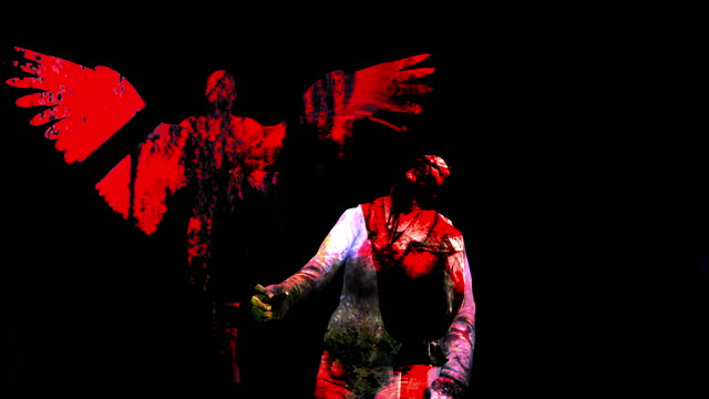 4K Red Female Angel Silhouette  Across a  black background  and Horror Zombie With Effects