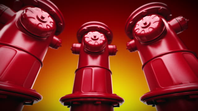 Red fire hydrants in a row. Loopable CG. video