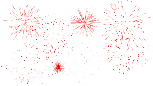 Red fireworks isolated on white background. video