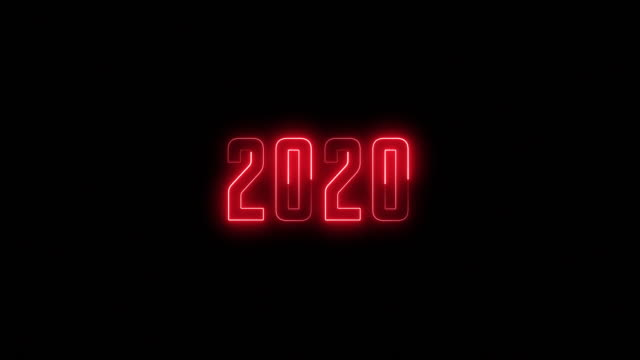 Red flashing neon sign for the new year 2020 - looped Red flashing holiday neon sign for the new year of 2020 on a black background - looped 2020 stock videos & royalty-free footage