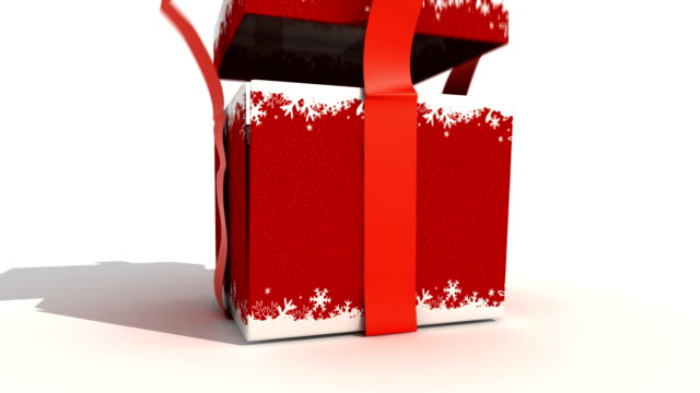 Red Gift Box Red Christmas gift box opening and revealing... wrapped stock videos & royalty-free footage