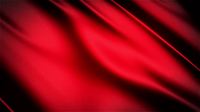 Red glossy cloth satin realistic seamless loop waving animation