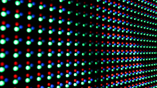 vídeos de stock e filmes b-roll de red green blue dots rgb led display - led painel
