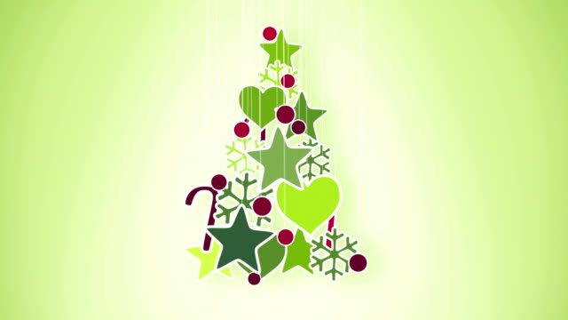 red green christmas tree decoration loop alpha video