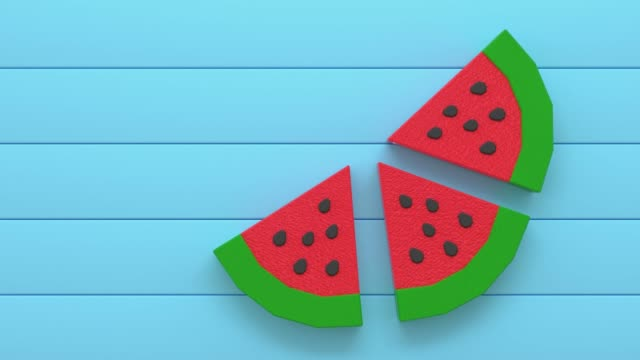 red green watermelon low poly cartoon style 3d rendering blue scene red green watermelon low poly cartoon style 3d rendering blue scene summer illustrations videos stock videos & royalty-free footage