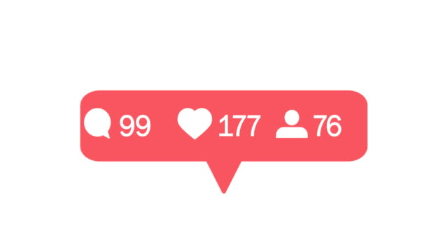 Red heart counter in social media, shows likes over time on a white background. Comments, likes, follower counters. 4K video