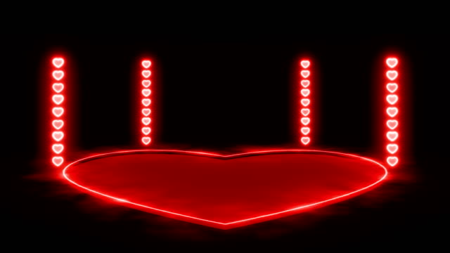 red heart shape neon lights and stage animation