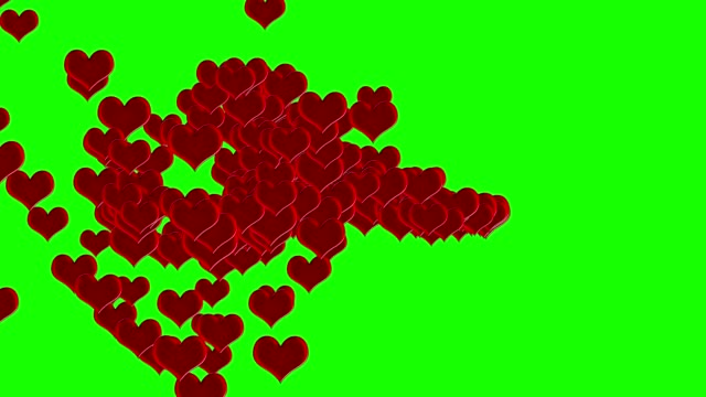 Red hearts animation transition on green screen chroma key for wedding or valentine's day ocassion