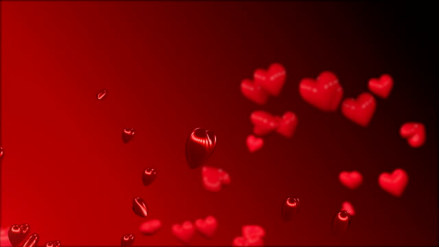 Red hearts floating background. video