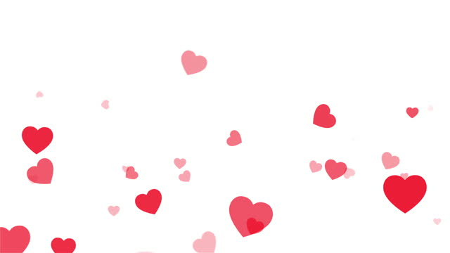 Red Hearts motion for Valentine's day Greeting love video. 4K Romantic looped animation on white background for Valentine's day, St. Valentines Day, Mother's day, Wedding anniversary invitation e-card
