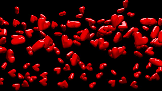 Red Hearts On Black Background video