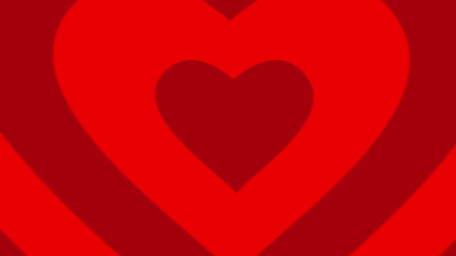 Red hearts shape animation seamless loop. video