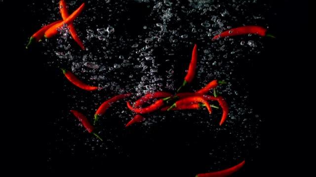 red hot chili paper in water splash
