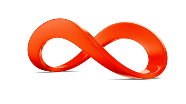 Red infinity sign on white background. 3D render video