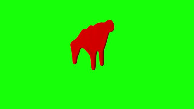 vidéos et rushes de encre rouge dégoulinant sur fond d'écran vert - sang