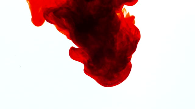 Red ink in water, slow motion, abstract. video