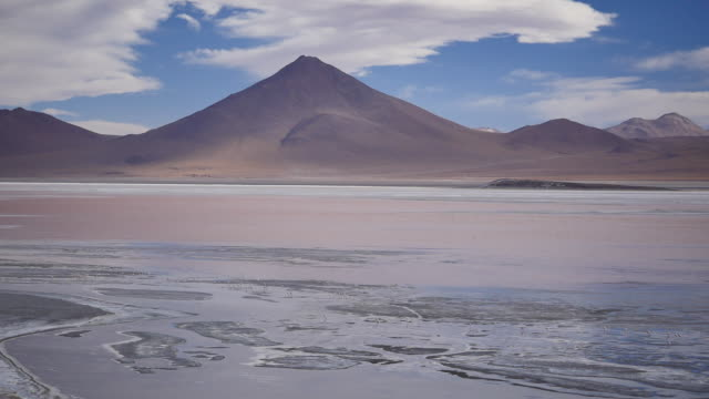 Red Lagune with conical mountain Not stabalized Video, its very windy in this area. red-colored microorganisms stain the lake red under certain wind conditions wasser videos stock videos & royalty-free footage