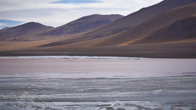 Red Lagune with with beautiful mountain slopes Not stabalized Video, its very windy in this area. red-colored microorganisms stain the lake red under certain wind conditions wasser videos stock videos & royalty-free footage