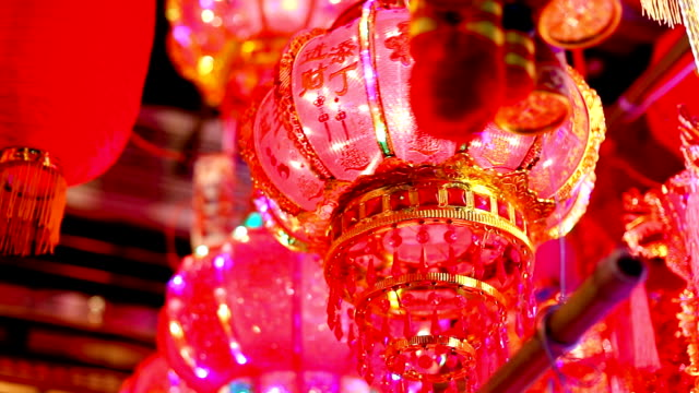 red lanterns in chinese new year illuminated beautiful red lanterns in chinese new year chinese new year stock videos & royalty-free footage