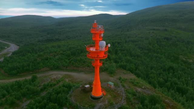 Red lighthouse with radar. Coastal surveillance radar antenna video