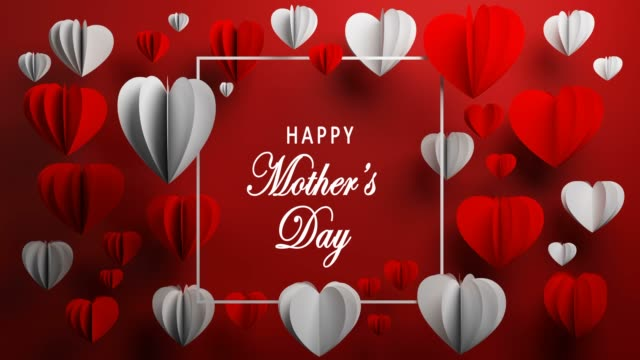 Red Lovely Happy Mother's Day Heart Shape Concept Happy Mother's Day, Heart Shape, Holiday Card, Background mothers day stock videos & royalty-free footage