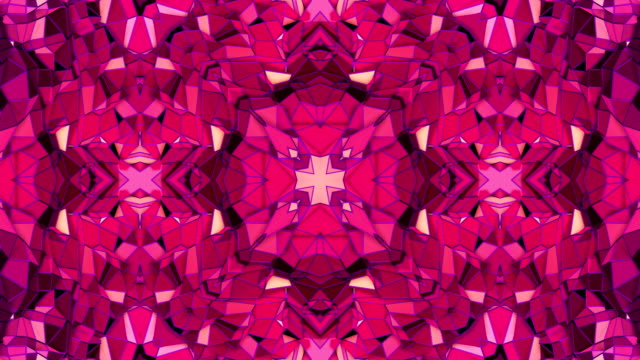 red low poly geometric abstract background as a moving stained glass or kaleidoscope effect in 4k. Loop 3d animation, seamless footage in popular low poly style. V10 video