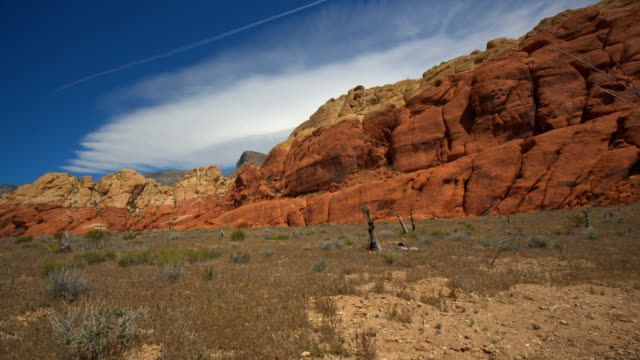 Red Mountains Pan Right to Dead Bush panning right on a red mountain range to reveal dead vegetation in the foreground during summer boulder rock stock videos & royalty-free footage