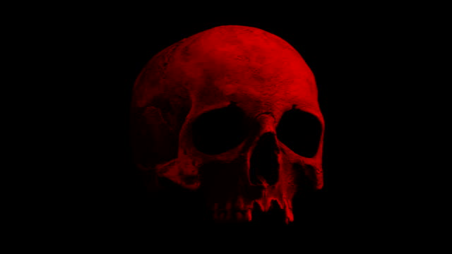 Red Old Skull Rotating Slowly Loop Old human skull turning slowly on black background - Looped for endless playback skull stock videos & royalty-free footage