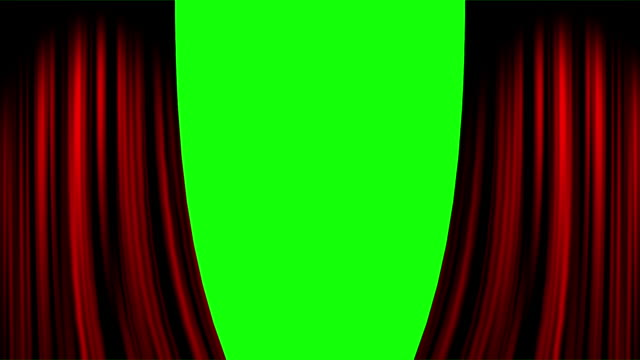 red overlapped curtain opening both ends with green screen - sipario video stock e b–roll