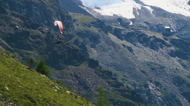 Red paraglider in front of Koenigspitze on a sunny day in summer