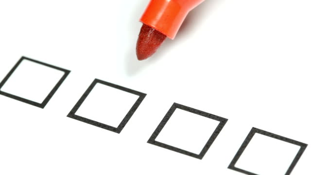 Red pencil -  Tick off in checklist. Red pencil -  Tick off in checklist. survey stock videos & royalty-free footage