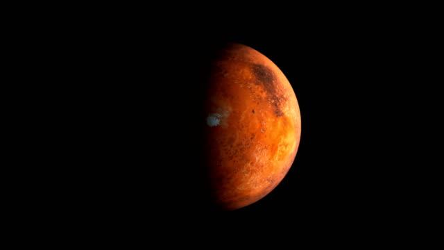 röda planeten mars i mörkret av kosmos del av sol systemet, 3d utrymme göra, datorgenererade - mars bildbanksvideor och videomaterial från bakom kulisserna