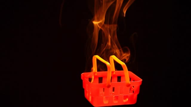 red plastic basket smoke nobody dark background hd footage