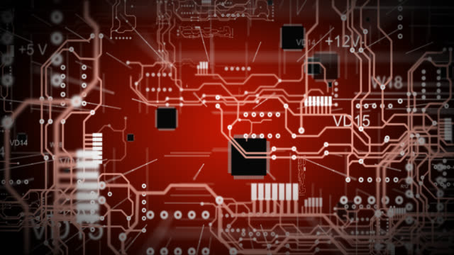 A red printed circuit board background
