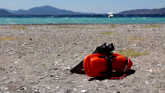 Red rescue buoy standing and pair of swimming flippers. video