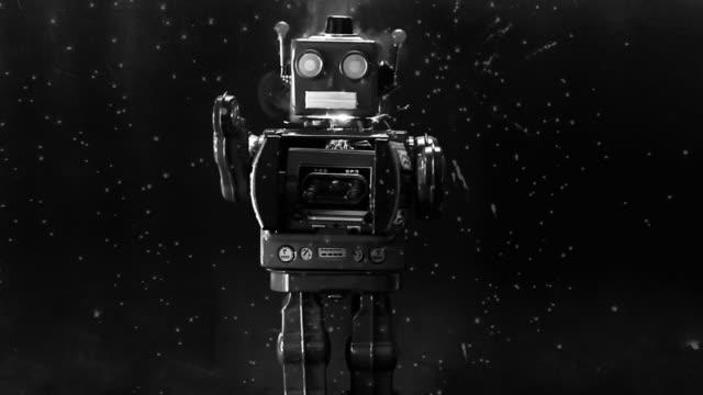 red retro robot walking through deep space